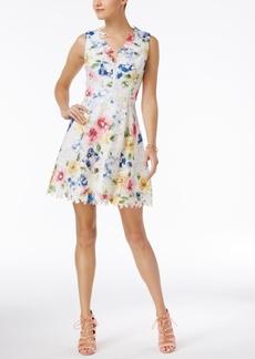 Betsey Johnson V-Back Printed Lace Fit & Flare Dress