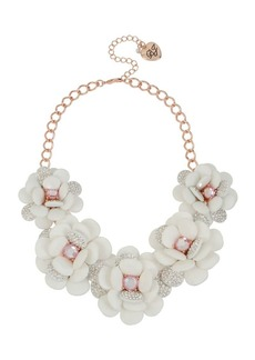 Betsey Johnson White Flowers Pavé Crystal Statement Frontal Necklace