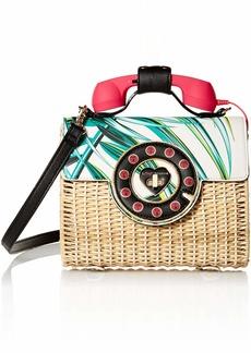 Betsey Johnson Wicker Palm Print Phone Bag