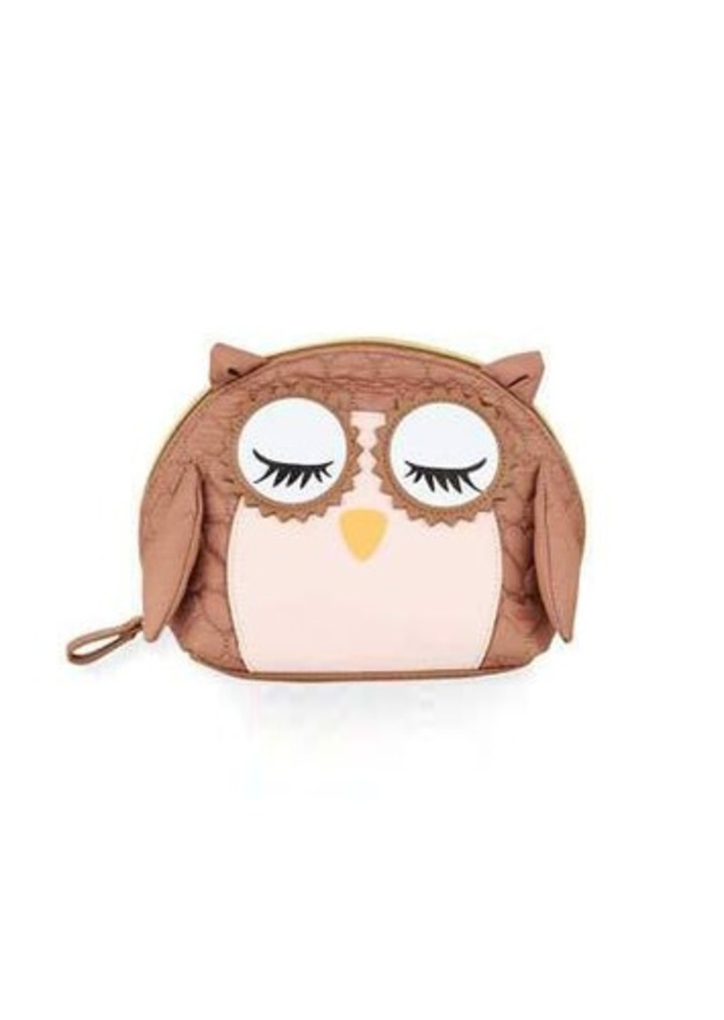 Wise Owl Quilted Heart Cosmetic Bag