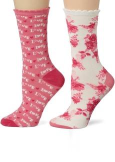 Betsey Johnson Women's 2 Pair Pack Punk Rock Love Crew Socks In Gift Box