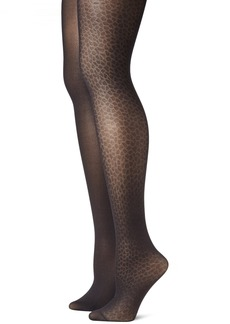 Betsey Johnson Women's 2 Pair Pack Snake Skin Tights  Small/Medium