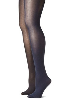 Betsey Johnson Women's 2 Pair Pack Solid Opaque Tights  Small/Medium
