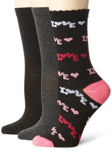 Betsey Johnson Women's 3 Pair Pack Crew Socks-Love Print