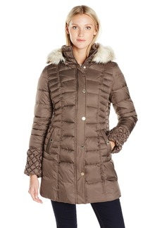 Betsey Johnson Women's 3/4 Puffer Coat with Popcorn Detailed Sleeve/Cinched Waist/Faux Fur Hood Strip  S