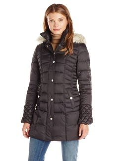 """Betsey Johnson Women's 3/4 Puffer with """"Popcorn"""" Detailed Sleeve/Cinched Waist/Faux Fur Hood Strip  XS"""