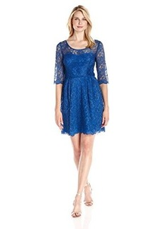 Betsey Johnson Women's 3/4 Sleeve Fit Flare Lace Dress