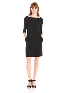 Betsey Johnson Women's 3/4 Sleeve Shift Dress with Laser Cut Illusion Detail On Chest
