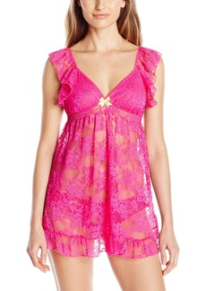Betsey Johnson Women's Allover Lace Babydoll with Matching Bikini