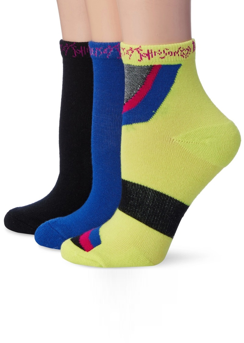 Betsey Johnson Women's Athletic Groovy Arch Support Quarter Crew 3 Pack Sock