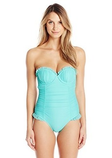 Betsey Johnson Women's Ballerina Mesh Molded Cup One Piece Swimsuit with Underwire