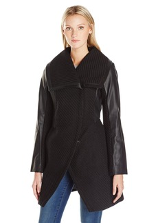 Betsey Johnson Women's Basket Weave Wool Coat with Pu Sleeve  L