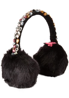 Betsey Johnson Women's BEJEWELED FAUX FUR EARMUFF Accessory -black ONE SIZE