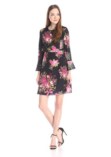 Betsey Johnson Women's Bell Sleeve Floral Dres