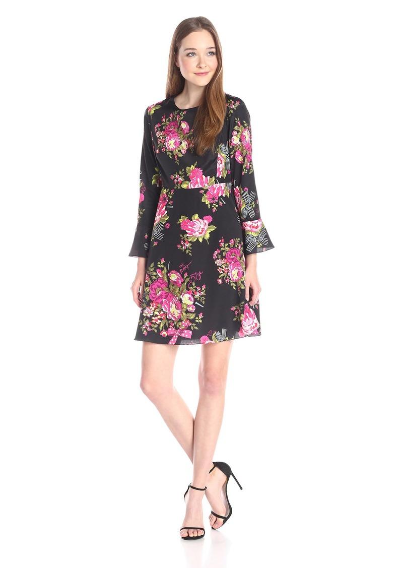 Betsey Johnson Women's Bell-Sleeve Floral Dress