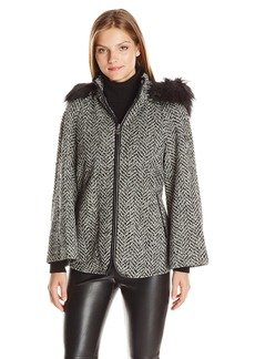 Betsey Johnson Women's Boucle Wool Capelet with Faux Fur Hood Strip  S
