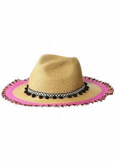 Betsey Johnson Women's Braided Pom Band Panama Hat with Raw Edge