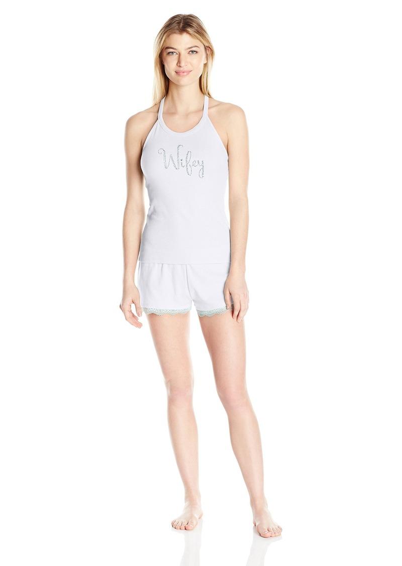 Betsey Johnson Women's Bridal Rib Knit Lace Short Set Sonic White/Betty Blue Wifey XS