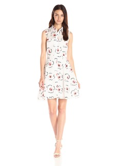 Betsey Johnson Women's Burnout Check Floral Cotton Shirtdress
