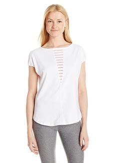 Betsey Johnson Women's Burnout Stripe Inset Wedge Tee  XL