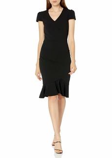 Betsey Johnson Women's Cap Sleeve Midi Dress with Flounce