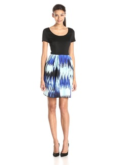 Betsey Johnson Women's Cap Sleeve with Printed Skirt Dress