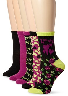 Betsey Johnson Women's Cat Patterned Crew Socks 5 Pack Assorted