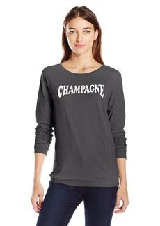 Betsey Johnson Women's Champagne Acid Wash Ls Tee