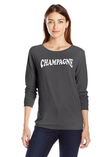 Betsey Johnson Women's Champagne Acid Wash LS Tee