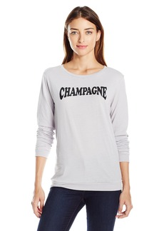 Betsey Johnson Women's Champagne Acid Wash Ls Tee  Heather Grey/Black Combo