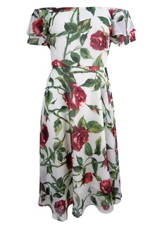 Betsey Johnson Women's Chffon Tea Length Floral Dress