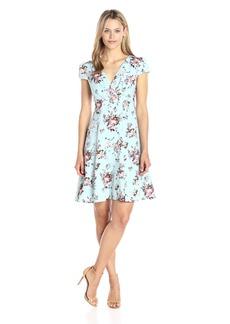 Betsey Johnson Women's Chiffon Crepe Fit and Flare Dress