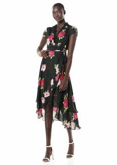 Betsey Johnson Women's Chiffon Faux Wrap Dress