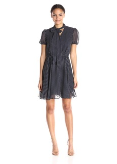 Betsey Johnson Women's Chiffon Mini Dot Tie Dress