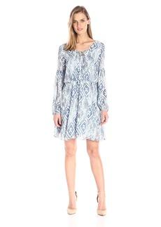 Betsey Johnson Women's Blue Chiffon New Boho Dress Ivory