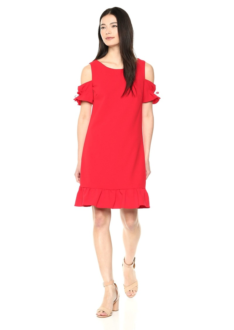 Betsey Johnson Women's Cold Shoulder Scuba Crepe Dress with Ruffled Hem red