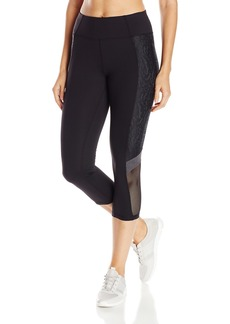 Betsey Johnson Women's Colorblock Crop Legging With Floral Mesh