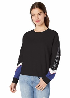Betsey Johnson Women's Colorblock Logo Tape Sweatshirt Black/Sodalite