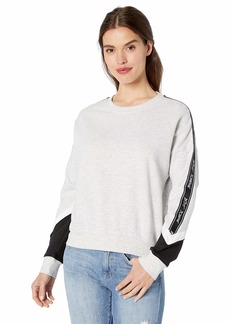 Betsey Johnson Women's Colorblock Logo Tape Sweatshirt Light Heather Grey/White