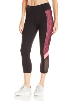 Betsey Johnson Women's Colorblock Print Crop Legging with Mesh