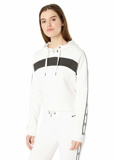 Betsey Johnson Women's Colorblocked X Tape Hoodie  Extra Small