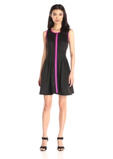 Betsey Johnson Women's Contrast Scuba Zip Front Dress