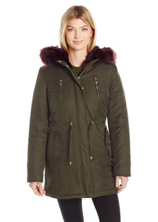 Betsey Johnson Women's Cotton Parka With Color Faux Fur Trim Olive/Multi XS