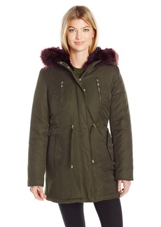 Betsey Johnson Women's Cotton Parka with Color Faux Fur Trim  S