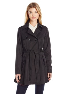 Betsey Johnson Women's Cotton Trench with Corset Back/Velvet Trim  M