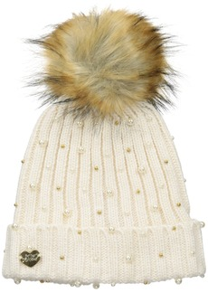 Betsey Johnson Women's Crazy for Pearls Cuff Hat with Faux Fur Pom