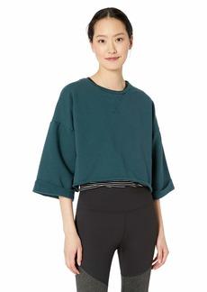 Betsey Johnson Women's Cropped Boxy Roll Cuff Sweatshirt