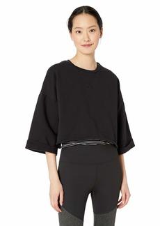 Betsey Johnson Women's Cropped Boxy Roll Cuff Sweatshirt  Extra Large