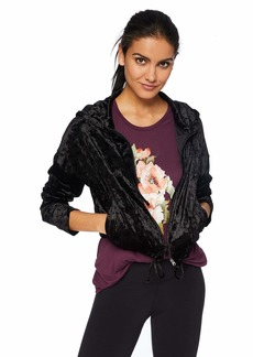 Betsey Johnson Women's CRUSHED VELVET CROPPED HOODIE    MEDIUM