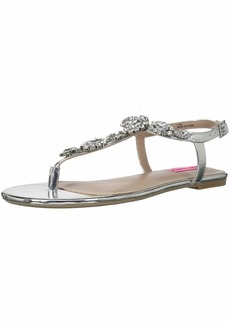 Betsey Johnson Women's Crystal Flat Sandal